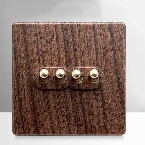 PJDOOJAE 1-4 Ganda de 2 vías Open Dual Interruptor individual Tipo 86 Retro Panel de interruptores Retro Grano de madera Antiguo Interruptor de la palanca de potencia de la lámpara de pared for el hog