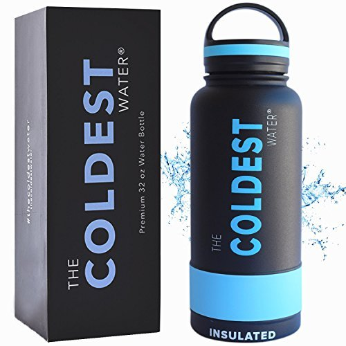 The Coldest Water Bottle 32 oz Wide Mouth Insulated Stainless Steel Hydro Thermos - Cold up to 36 Hrs/Hot 13 Hrs Double Walled Flask with Strong Cap