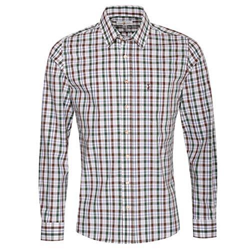 Almsach Herren Trachtenhemd Slim-Fit Slim-Line Trachten-Mode traditionell-kariert s-XXL viele Farben, Größe:S, Farbe-Zweifarbig:Braun/Tanne