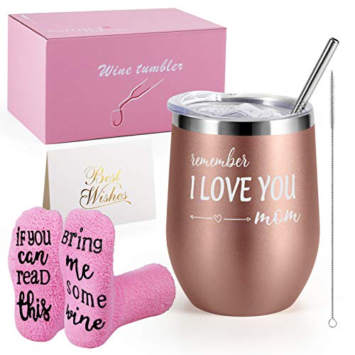 Birthday Gifts for Women - Insulated Wine Tumbler and Funny Socks Gift Set - Not a Day Over Fabulous Gifts for Women/Friends Female/Sister - Gifts for Mom from Daughter/Son - Stainless Steel Wine Tumbler with Lid - Gift Box Basket Present for Wife Mom Sister Girlfriend Best Friend Mother (Rose Gold Remember I Love You)