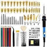 Komake - Set di 130 saldatori per pirografo, 60 W, temperatura regolabile 200-450 °C, pistone combustibile per legno, incisione in pelle, arte DLY, saldatura, scultura