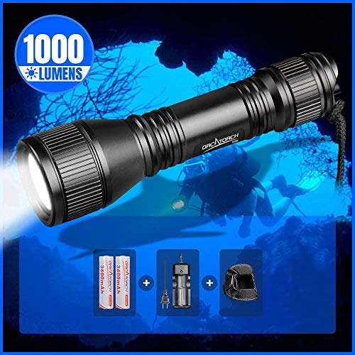 ORCATORCH D550 Scuba Dive Light, 1000 Lumens Underwater Diving Flashlight, IPX-8 Waterproof Night Dive Torch 150 Meters Submersible Lights with 2 x 18650 Battery and Charger