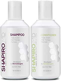 Hair Loss Shampoo and Conditioner   All-Natural DHT Blockers for Thinning Hair Developed by Dermatologists   Experience Healthier, Fuller & Thicker Looking Hair – Shapiro MD   4-Month Supply