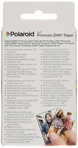 Polaroid 2x3ʺ Premium Zink Zero Photo Paper 20-Pack - Compatible with Polaroid Snap/SnapTouch Instant Print Digital Cameras & Polaroid Zip Mobile Photo Printer