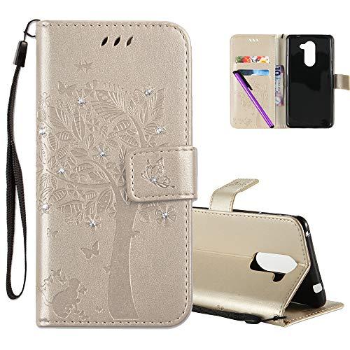 COTDINFOR Huawei Honor 6X Hülle für Mädchen Elegant Retro Premium PU Lederhülle Handy Tasche mit Magnet Standfunktion Schutz Etui für Huawei Honor 6X Gold Wishing Tree with Diamond KT.