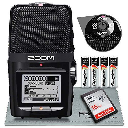 Zoom H2N - Registratore pratico con cinque capsule microfoniche, confezione con scheda SDHC da 16 GB, 4 batterie AA, panno in microfibra
