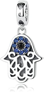 PAHALA 925 Strling Silver Blue Crystals Eye Charms Pendant Fit Bracelets Necklace