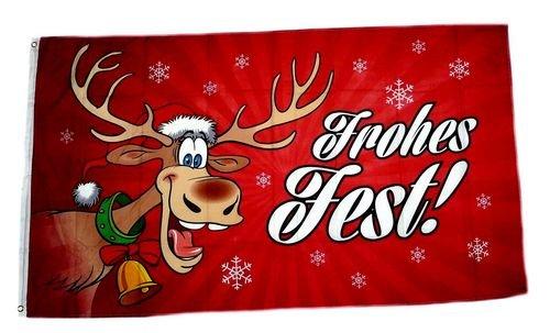Flagge/Fahne Frohes Fest Elch Weihnachten rot Hissflagge 90 x 150 cm