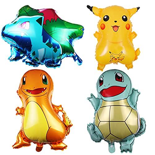 4pcs Pokemon fête d'anniversaire Ballons en Aluminium wopin-Pikachu Ballons en Aluminium pour Enfants Cadeau fête d'anniversaire Fournitures décor