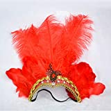 gaiya Belly Dance Headwear Halloween Articles Dance Performance Hair Hoop Feather Headwear Christmas Women 's Head Hoop Outside Código Promedio Rose roja