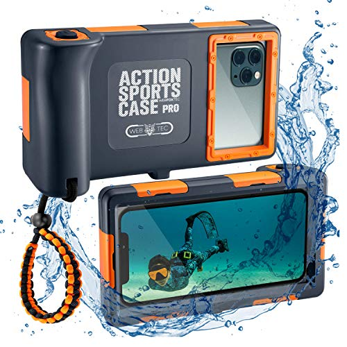 WebfoxTec [Tauch-Gehäuse] wasserdichte und Schwimmfähige Handy-Hülle bis 15m Tiefe, Extrem Robuste Schutzhülle für Outdoor Action und Sport, Universal passend für viele iPhone & Samsung Modelle