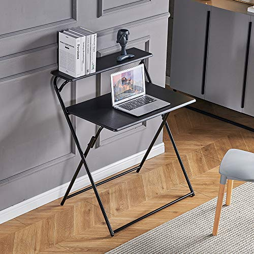 Portable 2-Tier Folding Laptop Desk Small Desk Corner Space-Saving Foldable Desk Table, 85cm Modern Wood Laptop Desk for Small Space Home Office Study Bedroom College Student Dorm, Black