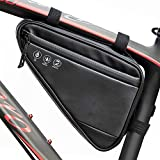 Welltop Bike Bicycle Triangle Frame Bag, Large Capacity Multi-Cells BicycleStorageBag with 3 Adjustable Straps, Triangle Water Resistant Reflective Saddle Frame Pouch for Mountain Bike, Black