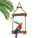 Giocattolo per uccelli, Yideng Giocattoli altalena per uccelli in legno naturale con ganci...