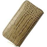 [株式会社 三京商会(Sankyo Shokai)] クロコダイル 型押し イタリア製レザー 長財布 メンズ ラウンドファスナー 真鍮金具使用 : オーク