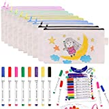 FULANDL 18 PCS Canvas Pencil Pouches Set, Multicolored 7.8in Blank Makeup Bags with 8PCS 5.3in Fabric Markers Pens, Cosmetic Bag with Permanent Fabric Paint Art Markers Set for DIY Design