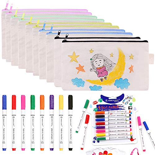 FULANDL 18 PCS Canvas Pencil Pouches Set, 10PCS Multicolored 7.8in Blank Makeup Bags with 8PCS 5.3in Fabric Markers Pens, Cosmetic Bag with Permanent Fabric Paint Art Markers Set for DIY Design