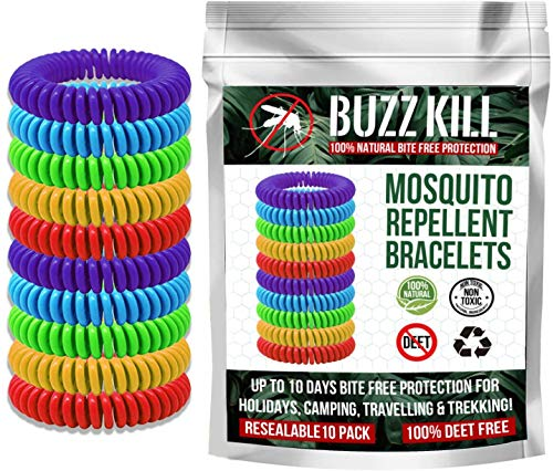 Buzz Kill Mosquito Repellent Bracelets Bands Insect Repellent 100% Natural DEET Free - 10 Pack