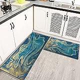 Alfombras Cocina Goma Alfombra de Baño Ducha 2PCS Tinta de marmoleado líquido Mármol Patrón Abstracto Aqua Nature Stone, alfombras de Cocina Antideslizantes Lavables