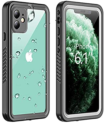 Vapesoon iPhone 11 Waterproof Case, Built-in Screen Protector 360 Full-Body Protection Clear Call Quality Heavy Duty Waterproof Shockproof Cover Case for iPhone 11 2019?6.1 Inch?-Black/Clear