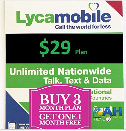 Lycamobile $29 Plan Prepaid Sim Cards Include 3 Month Free Service