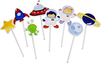 Lauren 16 Pcs Astronaut Exploration CupCake Decorative Toppers Cupcake Decorating Tools for Party