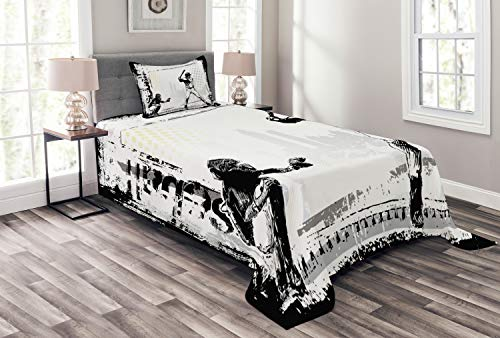 Lunarable Sports Bedspread, Baseball Themed American Sport Team Rustic Design Silhouette Illustration Print, Decorative Quilted 2 Piece Coverlet Set with Pillow Sham, Twin Size, White Black