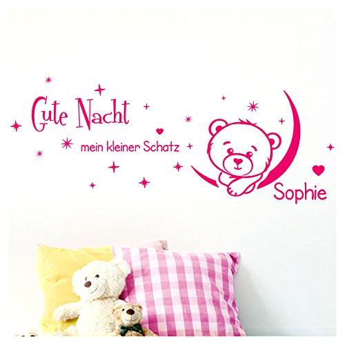 Grandora W5091 Wandtattoo Gute Nacht mein kleiner Schatz I pink (BxH) 80 x 33 cm I Name Teddy Mond Aufkleber Wandaufkleber Wandsticker