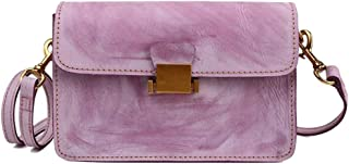 Tussy Women's fashion leather shoulder bag casual Messenger bag large capacity small square bag (Color : Purple, Size : 20 * 13 * 9cm)