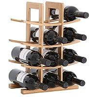 gräfenstayn® 30551 cremagliera del vino porto - impilabile in legno di bambù per 12 bottiglie di vino - dimensioni 30x16x42 cm (lxwxh) gabbie per bottiglie di vino caso del vino