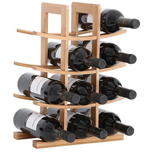 Gräfenstayn® 30551 Botelleros PORTO - apilable de madera de bambú para 12 botellas de vino- tamaño 30x16x42 cm (LxAnxAl) portabidones de vino
