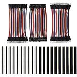 KeeYees 120PCS 3x10CM Jumper Cables Pines Macho a Hembra, Macho a Macho, Hembra a Hembra con 20PCS 2.54 mm Pin Headers Encabezado Conector para Arduino Raspberry Pi