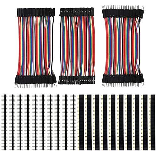 KeeYees 120pcs 3x10CM Jumper Wire Kabel Drahtbrücken Set 40pin Male zu Female, Male zu Male, Female zu Female mit 20pcs Kopfleisten Single Reihe 40pin PCB Stiftleiste 2,54mm für Arduino