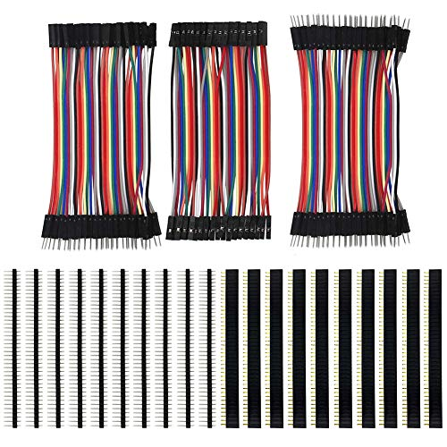 KeeYees 120pcs 3x10CM Jumper Wires Filo 40pin Maschio a Femmina, Maschio a Maschio, Femmina a Femmina e 20pcs 2.54mm Connettori a Pettine PCB Board Singola da 40Pin per Arduino Raspberry Pi