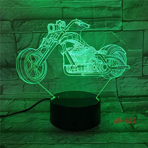 lampara 3D Pared Motocicleta Rueda Grande Carreras Motocicleta luz 16 Cambios de Color Interruptor táctil y Remoto Navidad
