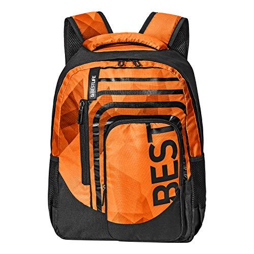 """BESTLIFE Mochila unisex """"BREVIS"""" mochila escolar, para el tiempo libre con compartimento para el portátil hasta 15,6 pulgadas (39,6 cm), naranja"""