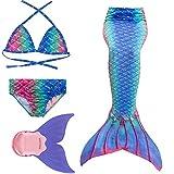 Rainbow Swimmable Mermaid Tail Bikini Sets Monofin Swimware Girls Kids Cospaly...