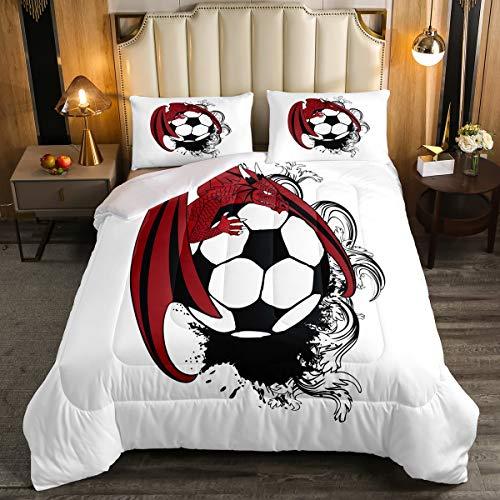 Feelyou - Juego de edredón con diseño de dragón para niños y niñas, adolescentes, juego de ropa de cama, diseño de balón de fútbol americano 3D, transpirable, juego de...