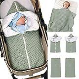 Baby Wrap Wickeldecke Strick Schlafsack Schlafsack Kinderwagen Wrap Weich Warm für 0-12 Monate Babys Unisex (Grün)