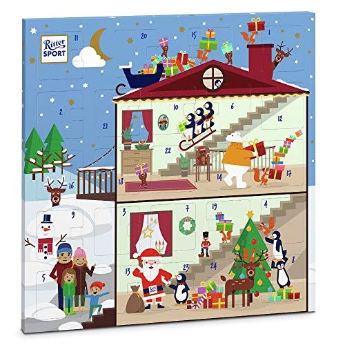 Ritter Sport Quadrat-Adventskalender (347 g), fröhlich-bunter Weihnachtskalender, mit 18 minis und 6 Schokowürfeln, in 8 Schokoladen-Sorten, süße Adventsdeko