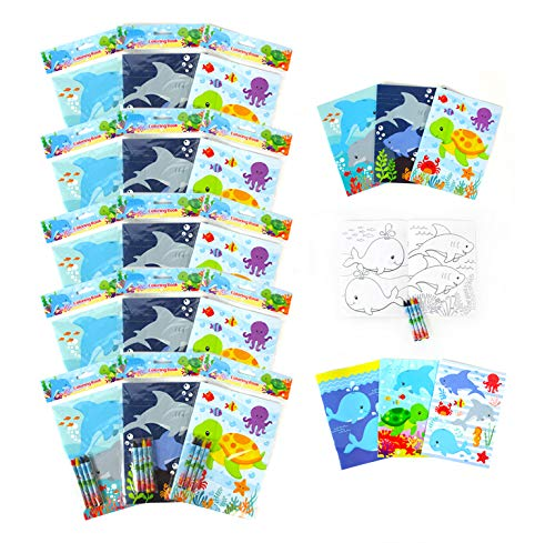 Sea Turtles Animals Coloring Book Set with 12 Coloring Books and 48 Crayons Sea Turtles Animals Birthday Party Supplies Favor Bag Filler Carnival Prizes Rewards Stocking Stuffers Classroom Party