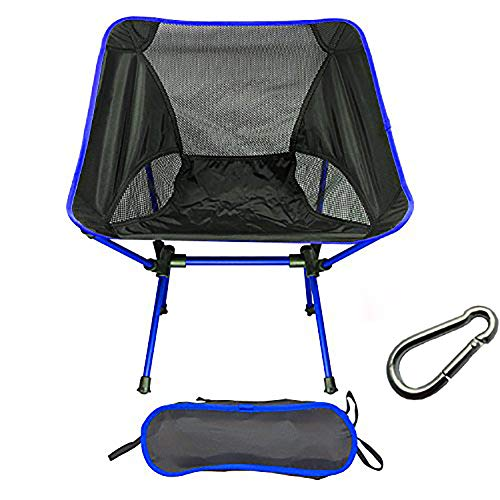 FLY 折りたたみ椅子 コンパクトキャンプ椅子 航空アルミ合金&軽量 耐荷重150kg アウトドアチェア 収納バッグ付き (濃い青)