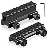 Picatinny Riser Mounts, FENTUK 1 Inch High Profile & 1/2 Inch Low Profile 8 Slots Picatinny Rail Riser Mount with See Through Design for Scopes Optics Red Dots - 2 Pack (Include 1' & 0.5' Riser Mount)