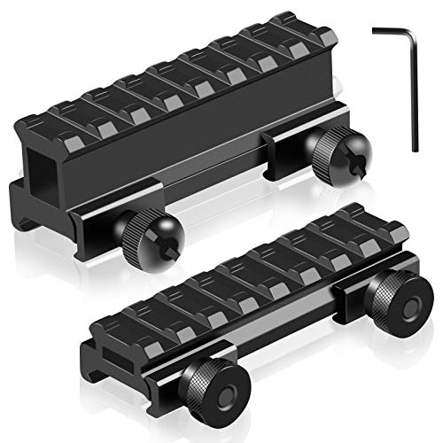 Picatinny Riser Mounts, FENTUK 1 Inch High Profile & 1/2 Inch Low Profile 8 Slots Picatinny Rail Riser Mount with See Through Design for Scopes Optics Red Dots - 2 Pack (Include 1