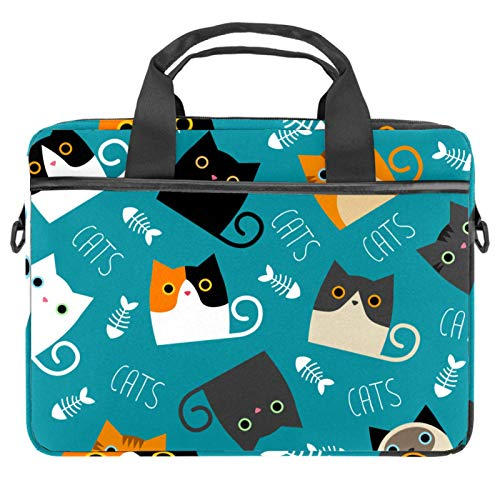 13-14.5 Inch Laptop Sleeve Case Cute Cats Pattern Protective Cover Bag Portable Computer Notebook Carrying Case Briefcase Message Bag