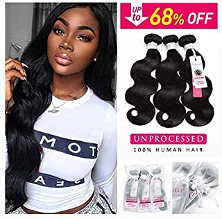 Sedittyhair 3 Bundles Deal(16 18 20inch Total 300g) Brazilian Human Hair Body Wave Hair Bundles Brazilian Wavy Hair Weave 100% Human Hair Extensions 8A Grade Natural Black Color College School Gift