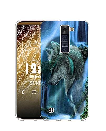 Sunrive Funda Compatible con LG K10 2016, Silicona Slim Fit Gel Transparente Carcasa Case Bumper de Impactos y Anti-Arañazos Espalda Cover(Q Lobo 3)