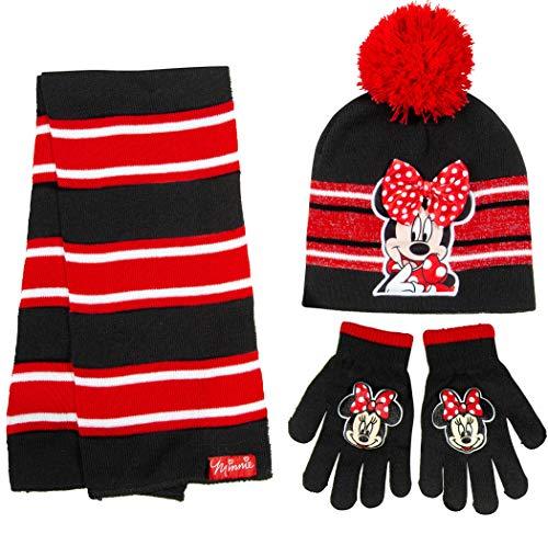 Disney Minnie Mouse Girls 3 Piece Beanie Hat Scarf and Glove Set [4015]
