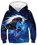 ALISISTER 3D Hoodie Galaxy Licorne Garçons Filles Imprimé Sweat à Capuche Sweatshirts Jumpers with Pockets Enfant M
