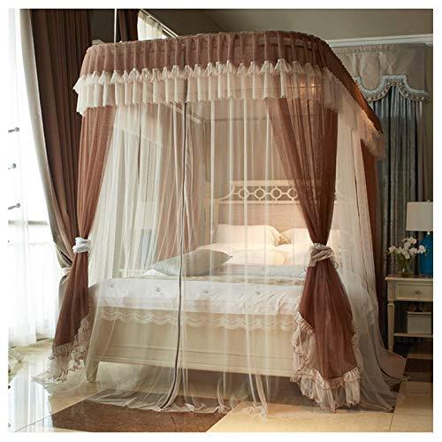Canopy for Girls Bed (1.5-2.2m), Doble Casa de cama Detalle Decoración de dormitorio, 3 aberturas con cremallera de doble cara en forma de U Mosquitera en forma de U (Tamaño: Para 1,8 m / 6 pies Cama,